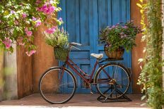 Vintage bike with basket full of flowers next to an old building in Danang, Vietnam, close up. Bicycle with a basket of flowers against the backdrop of an obsolete wall